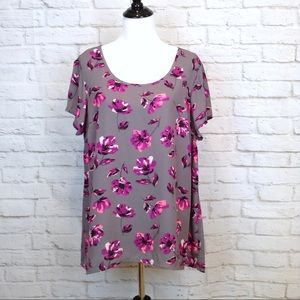 Torrid gray with floral print blouse